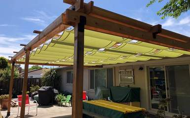 retractable residential slide on wire guide wire patio deck pergola canopy