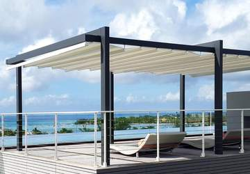 outdoor residential space shaded by awning