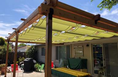 retractable guide wire slide on wire sun canopies