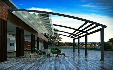 curved attached residential retractable pergola cover