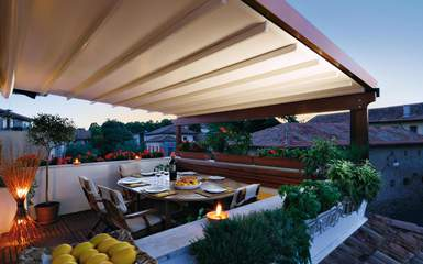 commercial attached wood retractable pergola cover