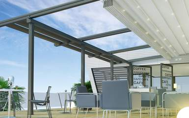 commercial retractable motorized pergola cover roof