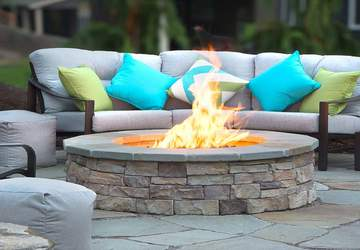 patio fire pit under winter retractable pergola