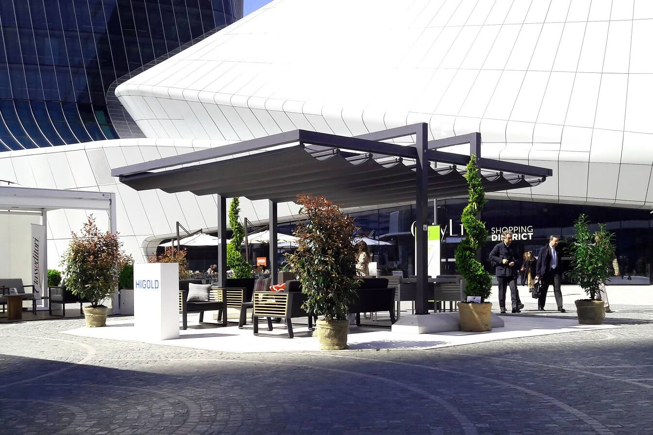 retractable free standing commercial canopy