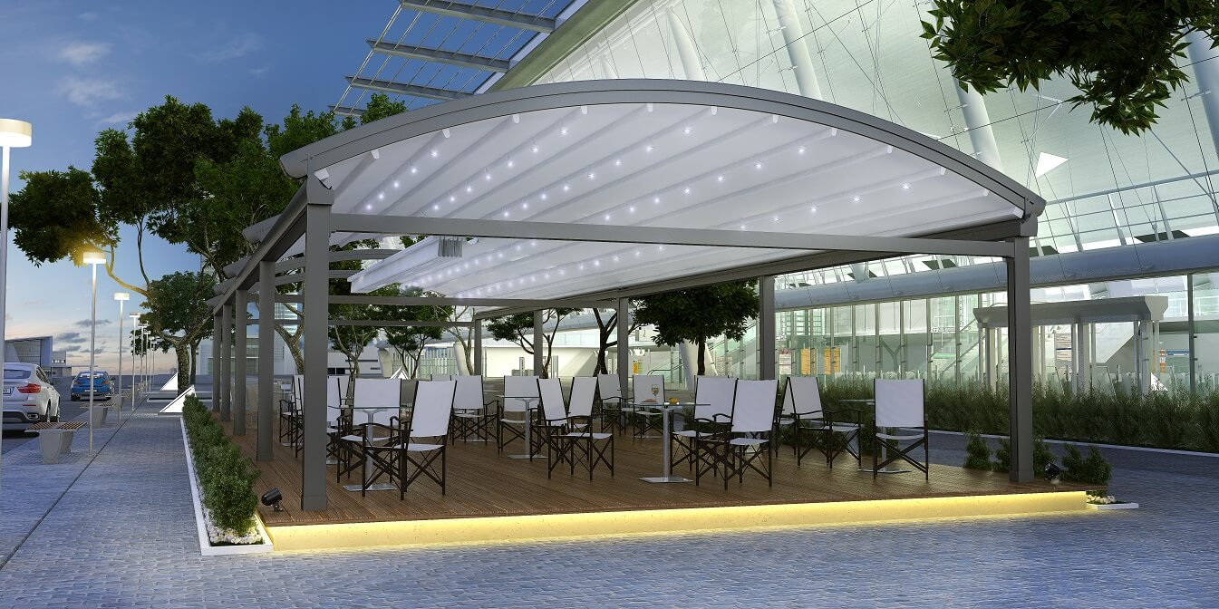 curved freestanding commercial retractable pergola roof cover
