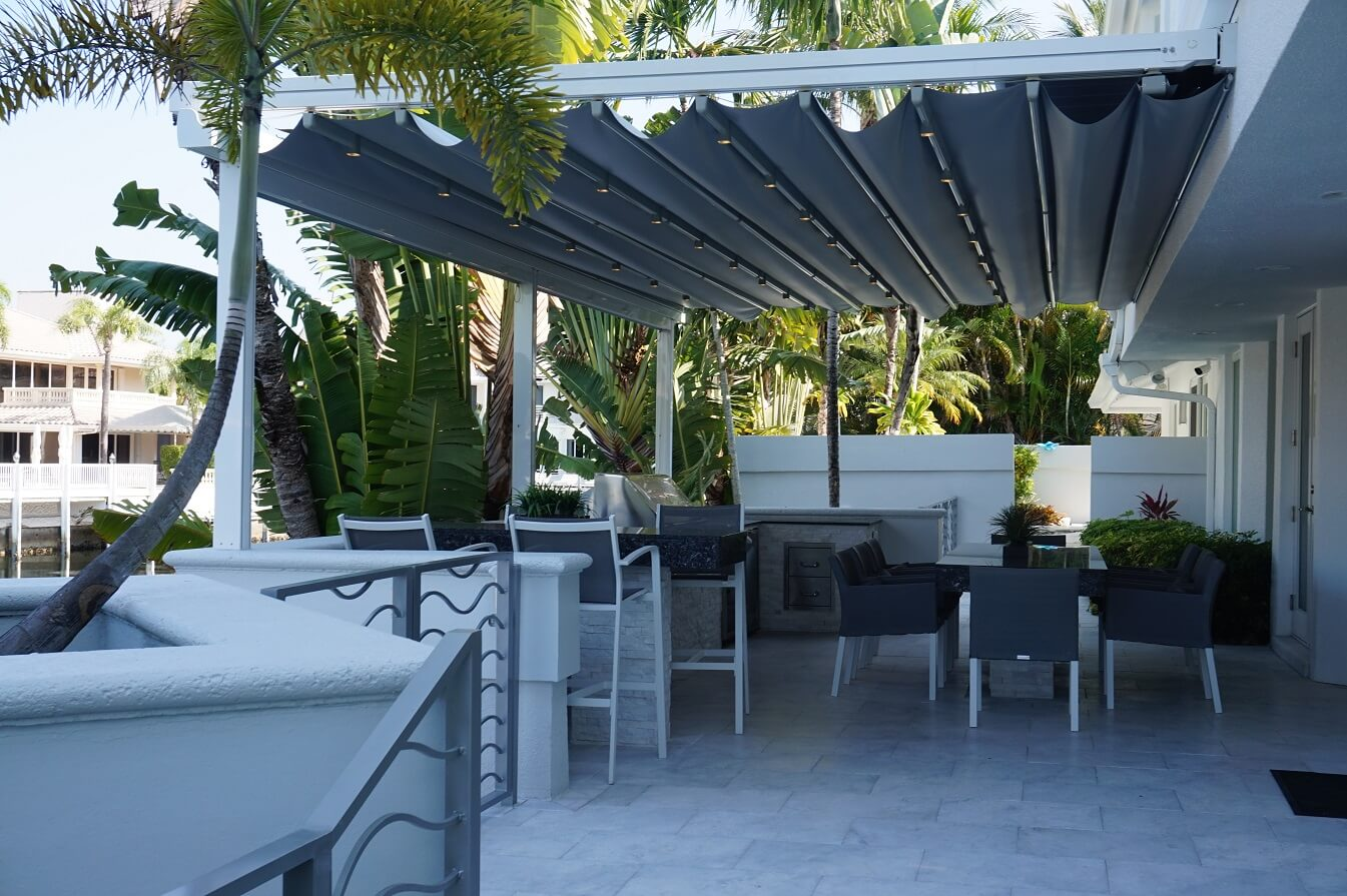 retractable flat attached patio deck pergola