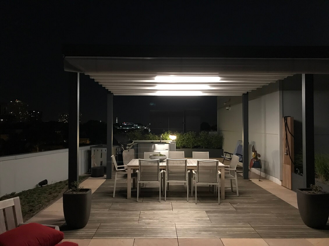freestanding waterproof retractable patio deck cover system