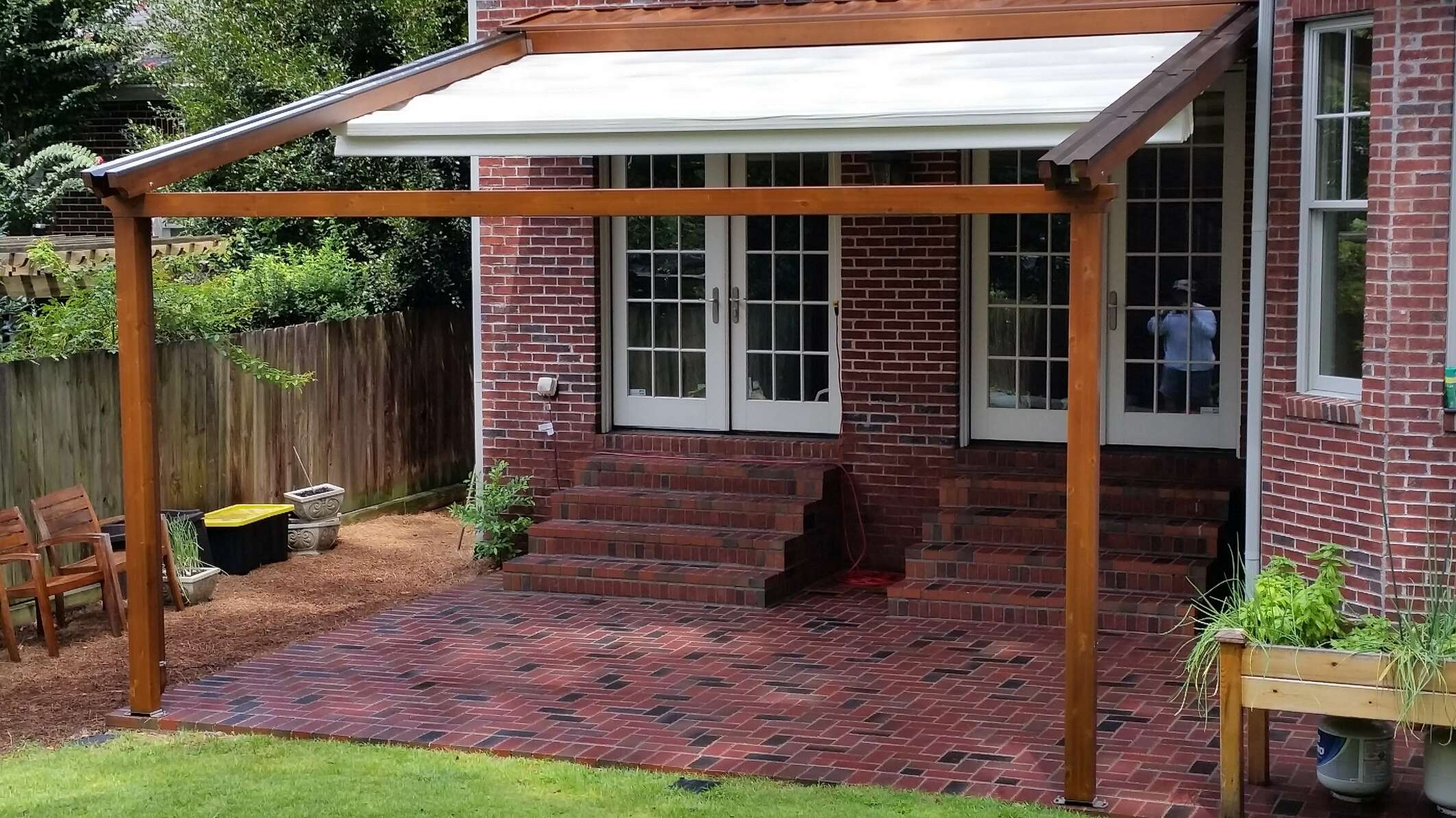 monza wood frame retractable waterproof patio deck cover system