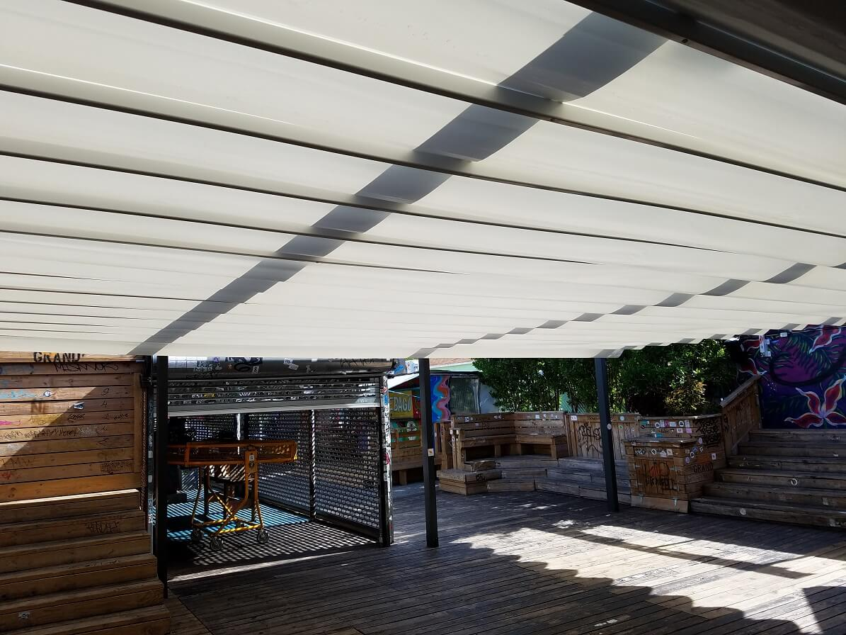 retractable attached waterproof restaurant patio pergola cover system