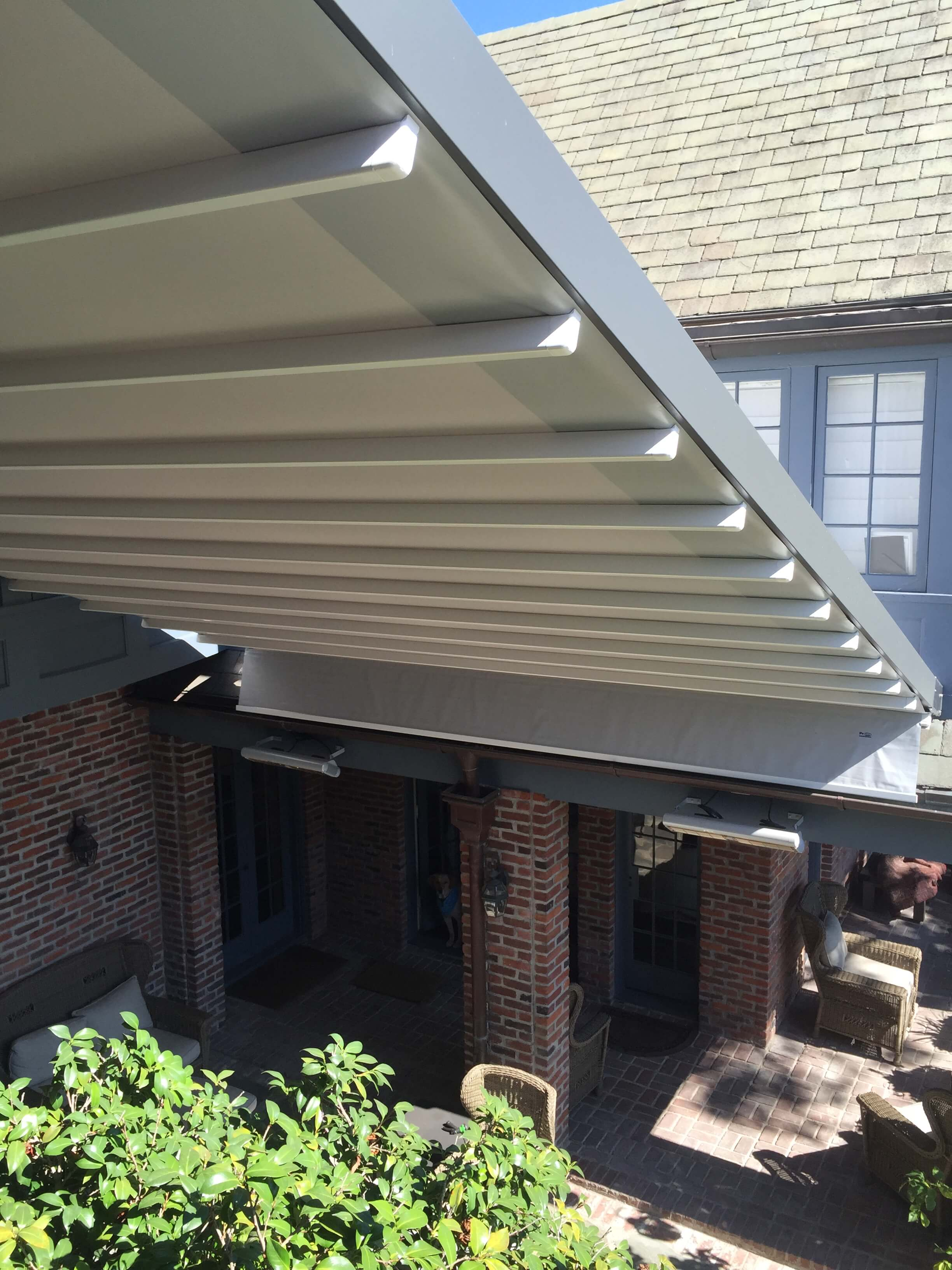 etractable waterproof wall to wall patio deck cover system