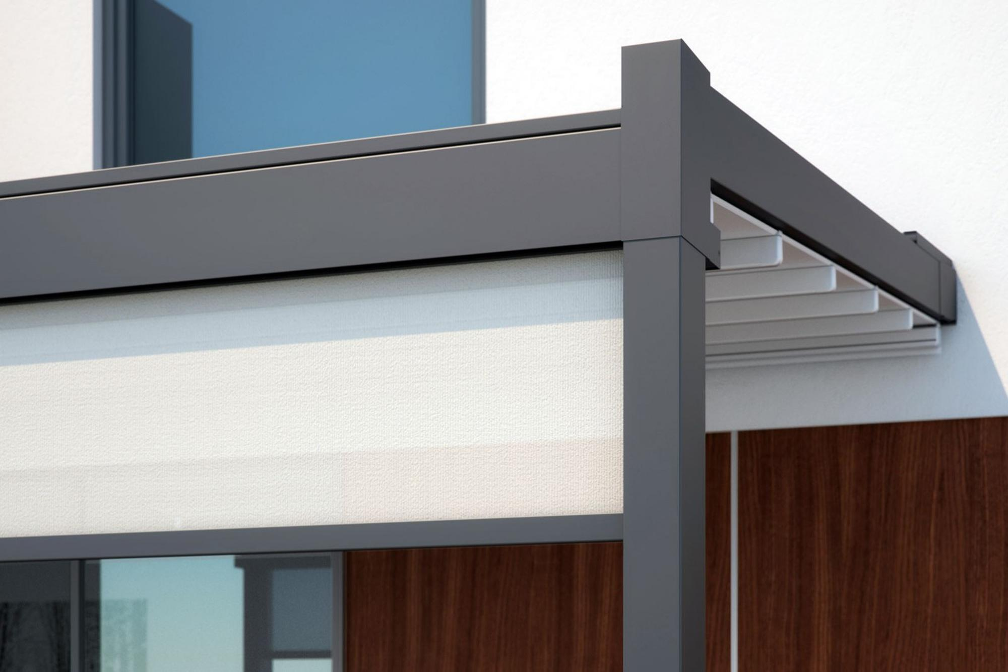 retractable residential patio deck attached pergola cover system fabric close up