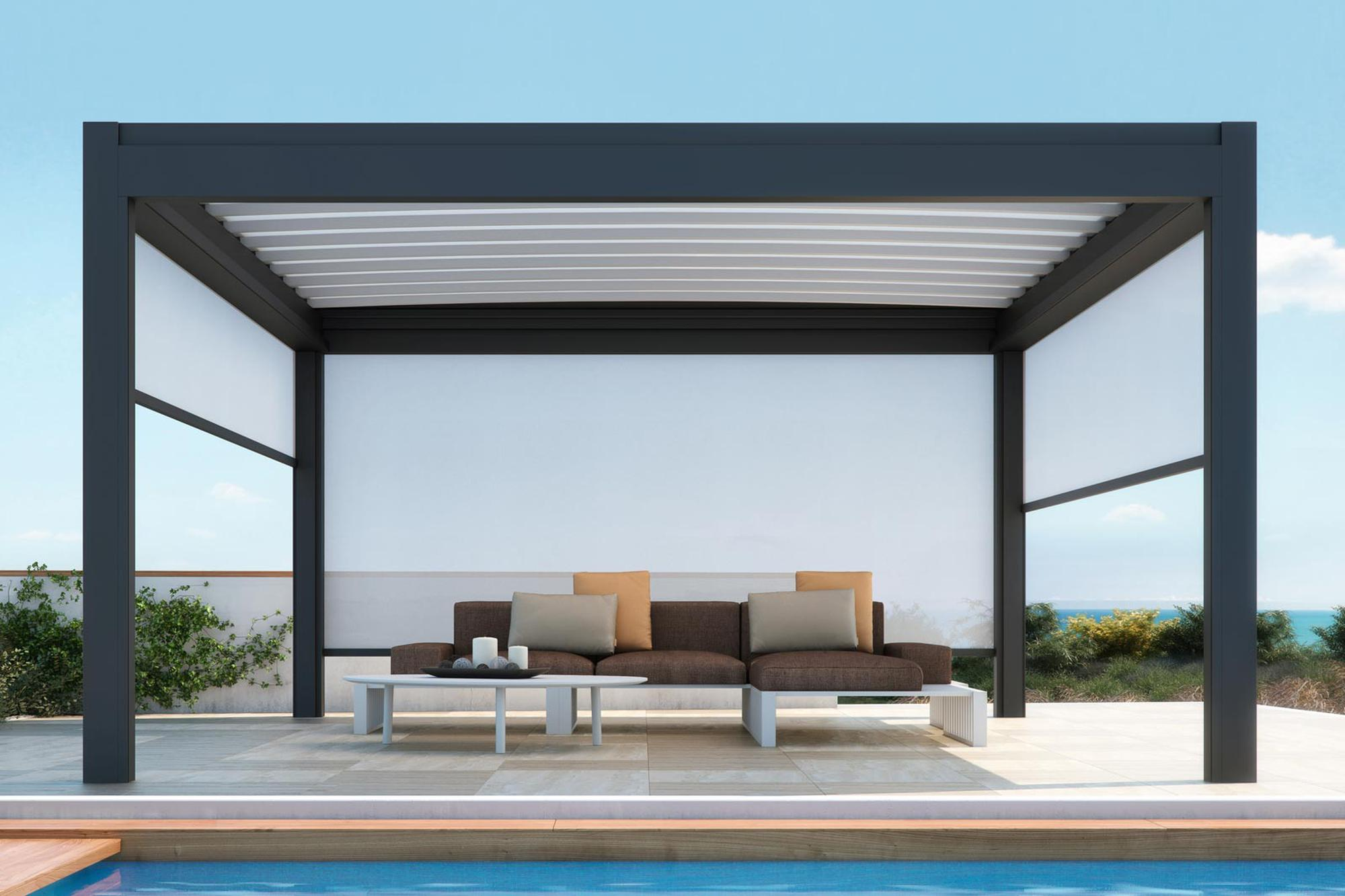 retractable residential patio deck attached pergola cover system
