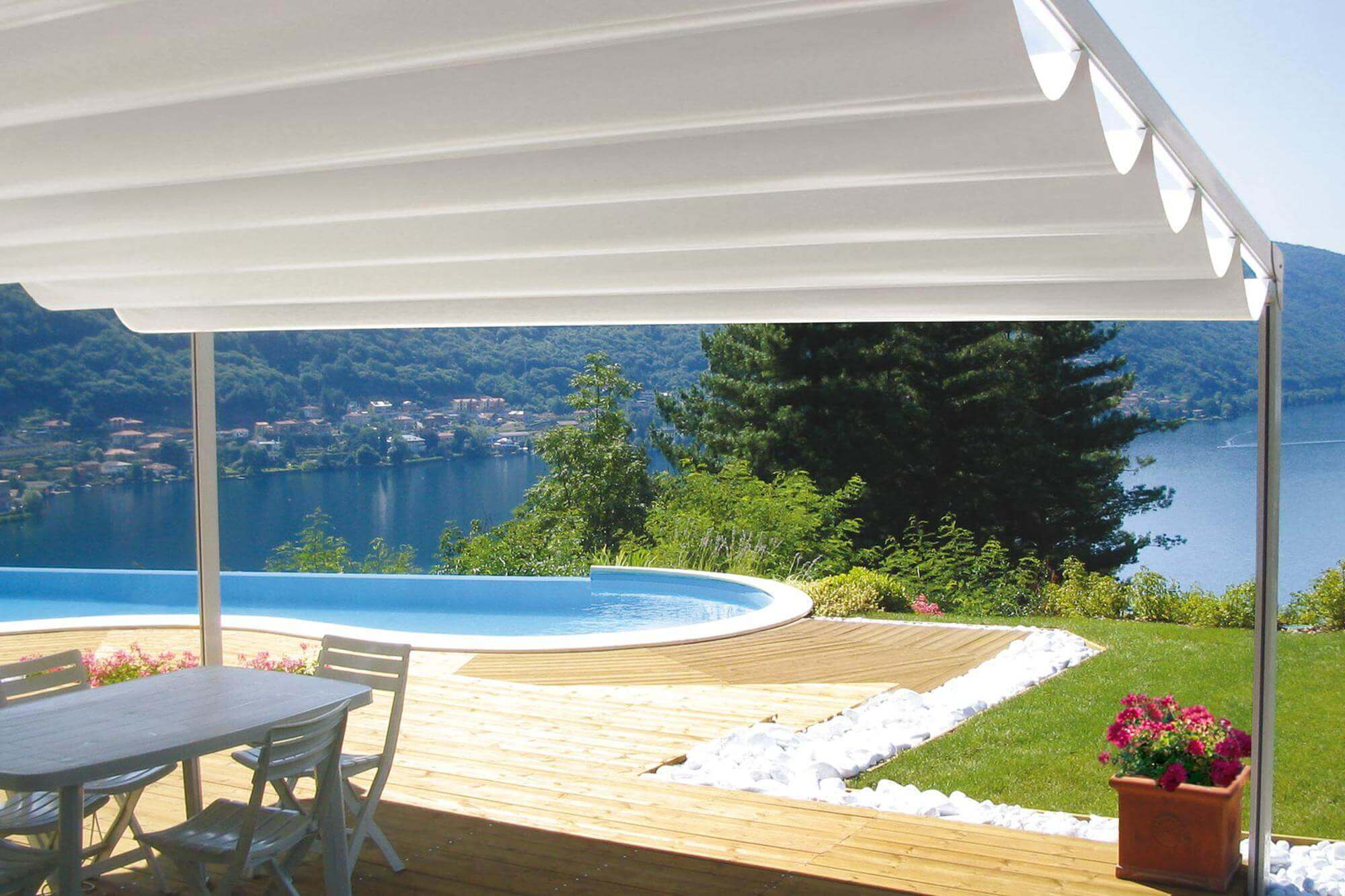 firenze plus retractable residential commercial waterproof patio deck attached pergola cover system