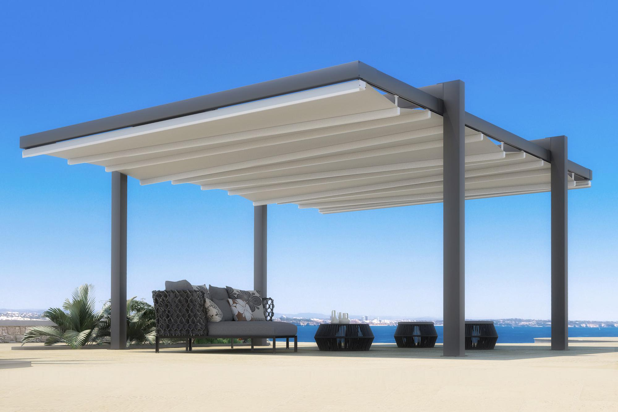 Retractable Waterproof Commercial Residential Free Standing Patio Deck  Pergola Cover Awning