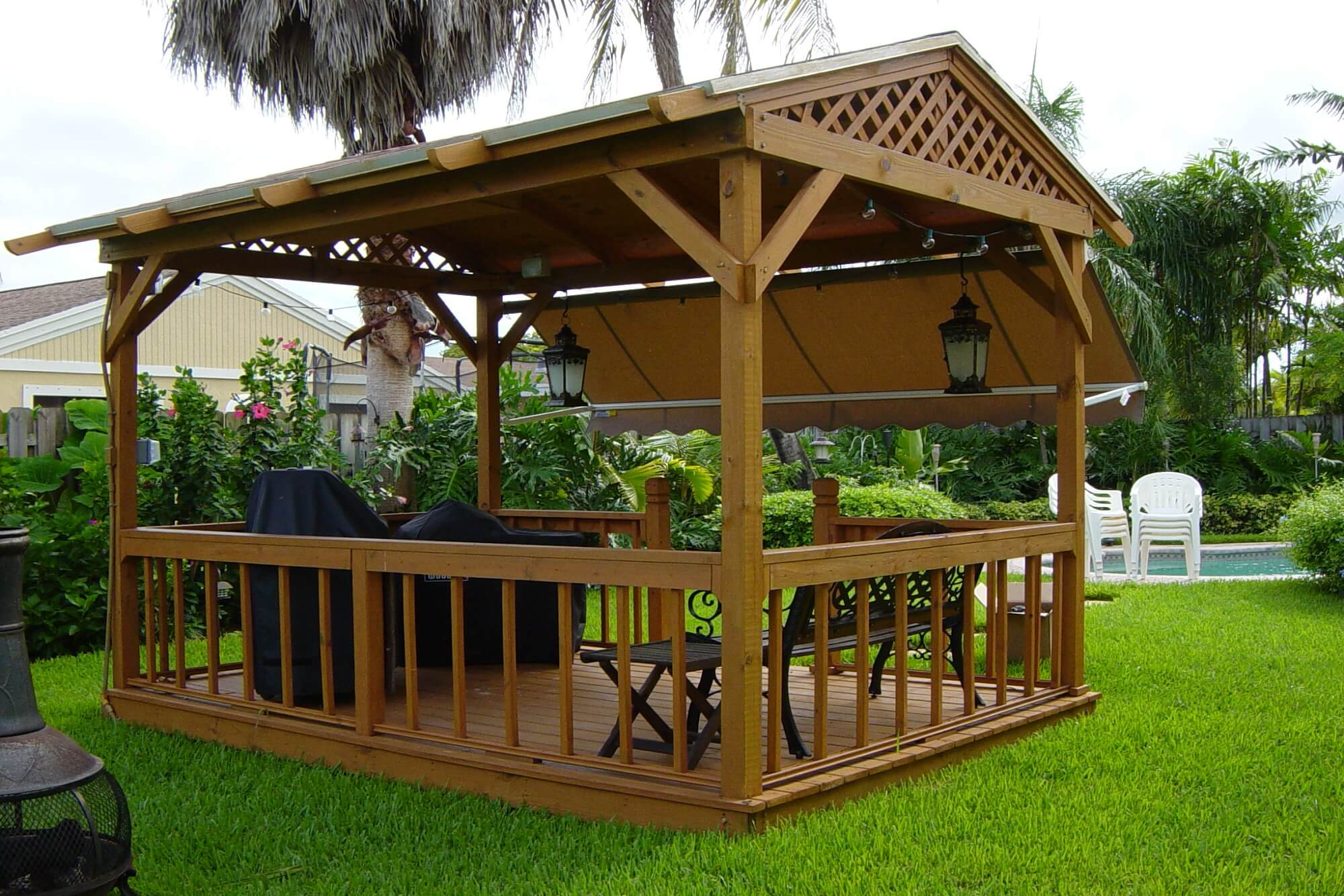 drop arm side arm pergola window awnings