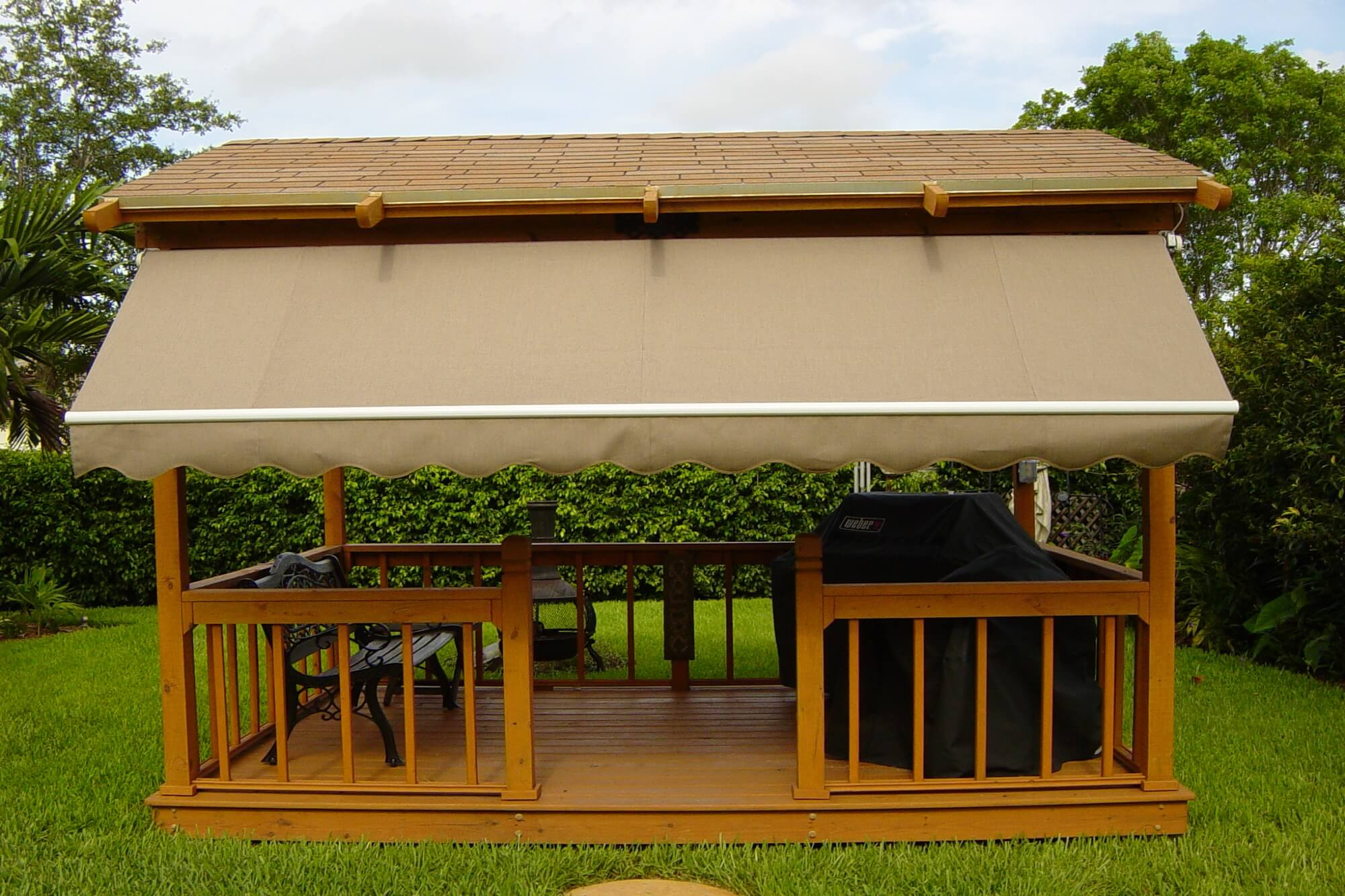 drop arm side arm gazebo window awnings