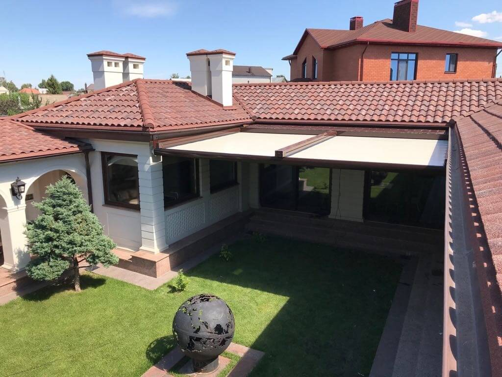 attached residential retractable pergola roof