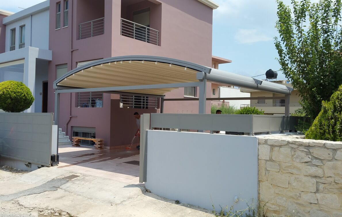 curved freestanding residential driveway pergola-cover
