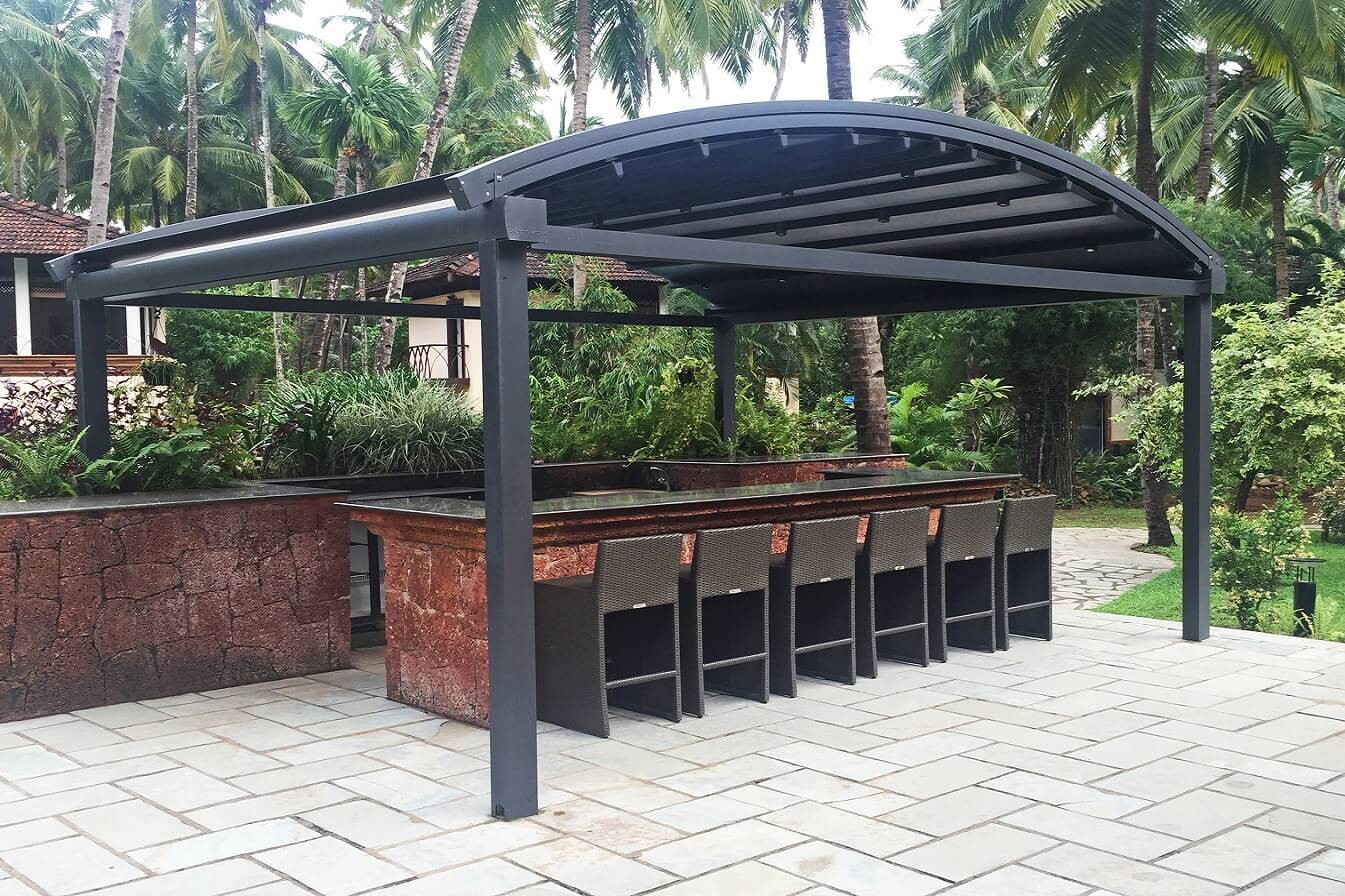 curved freestanding residential retractable pergola bar cover