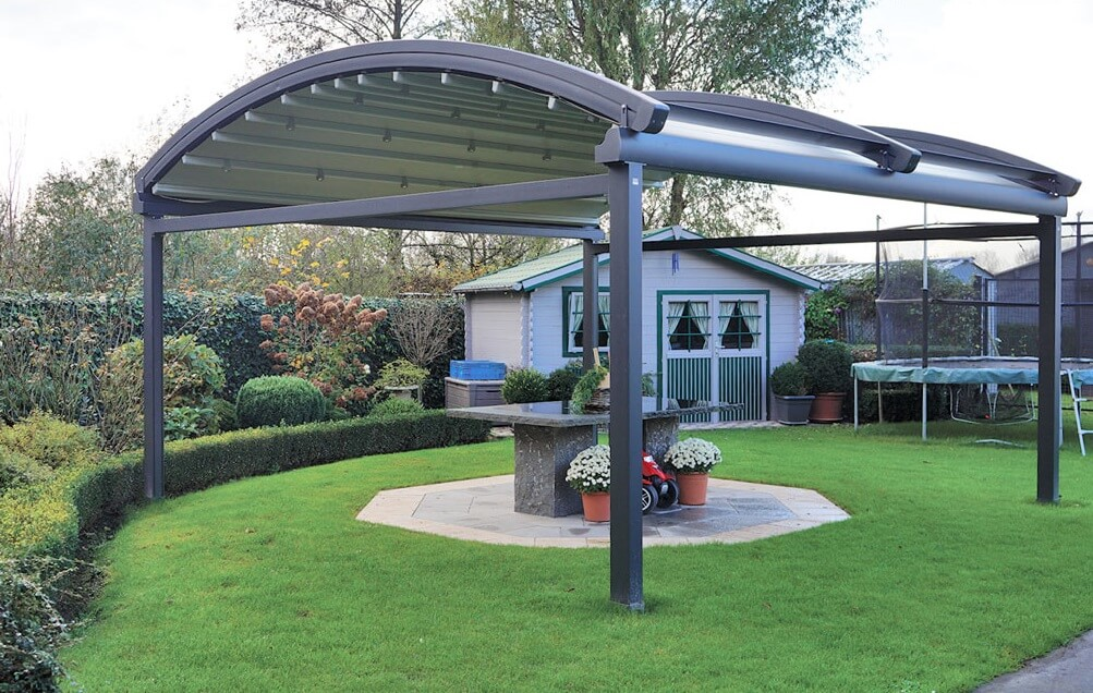 curved freestanding residential retractable pergola cover