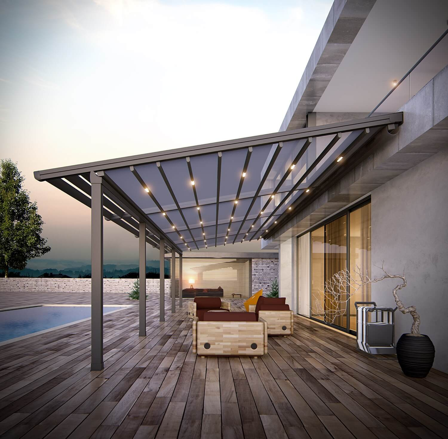 residential retractable motorized pergola roof cover