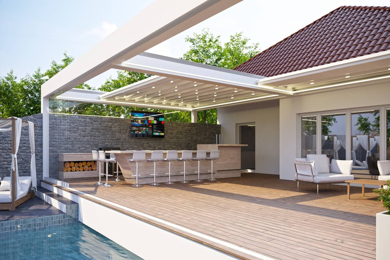 residential retractable motorized attached pergola roof cover