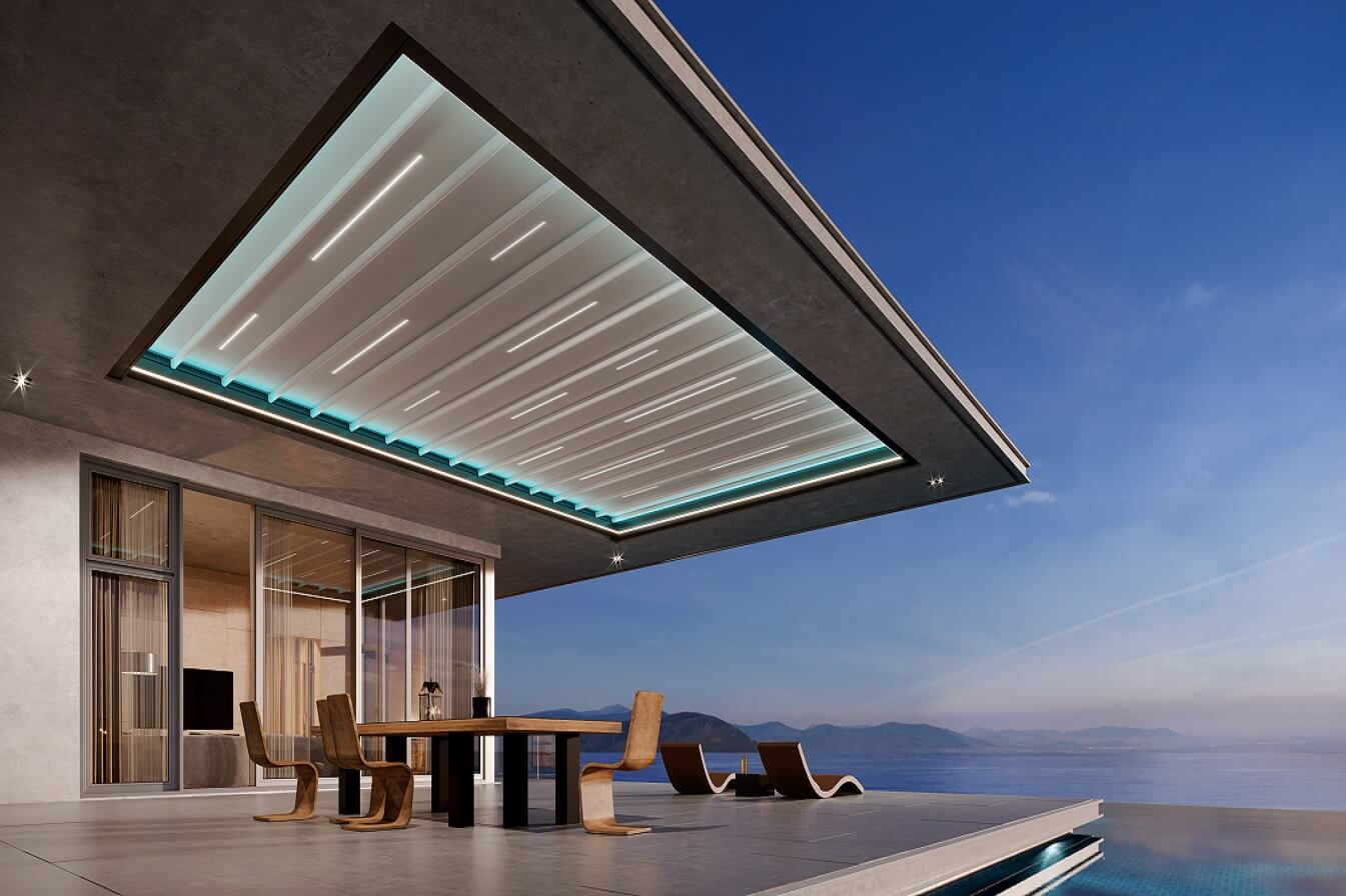 residential retractable motorized skylight pergola cover