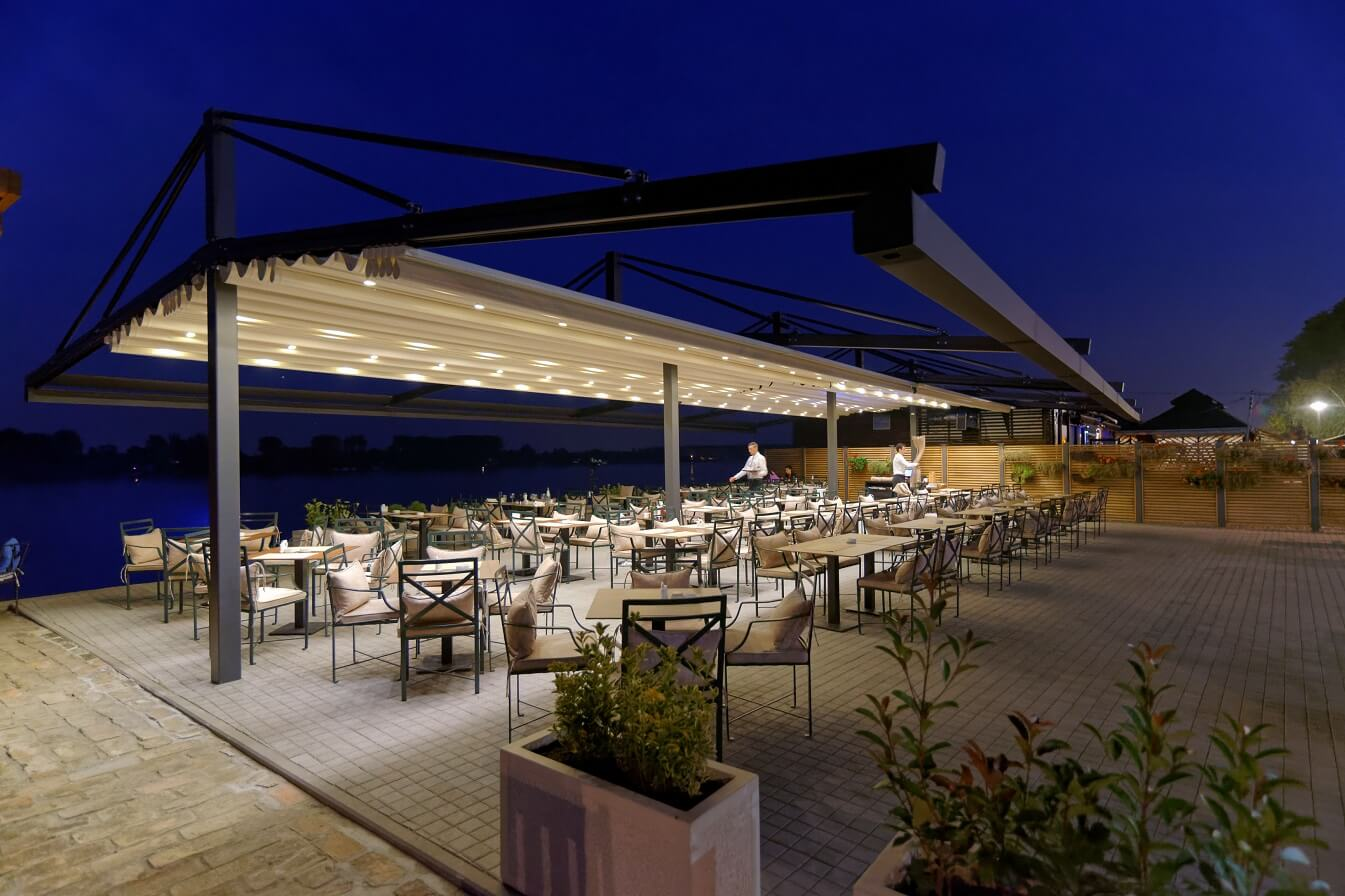 retractable restaurant free standing double sided retractable pergola