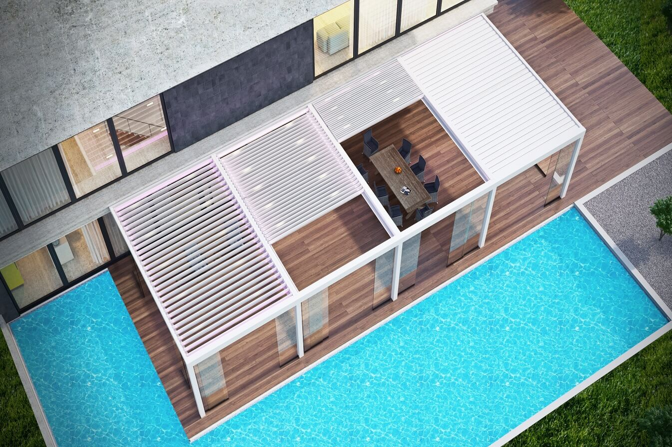 rotating retractable louver roof bioclimatic pergola