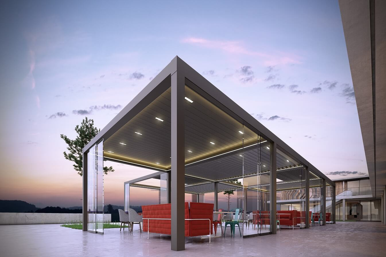 retractable rotating louver roof bioclimatic pergolas