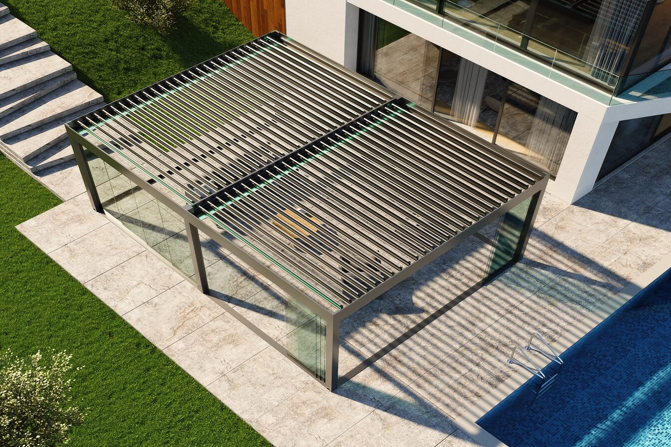 residential rotating louver roof bioclimatic pergola