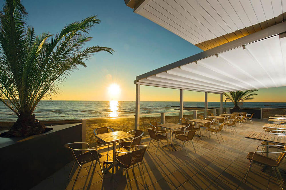 Salerno model retractable patio cover simple awning pergola system