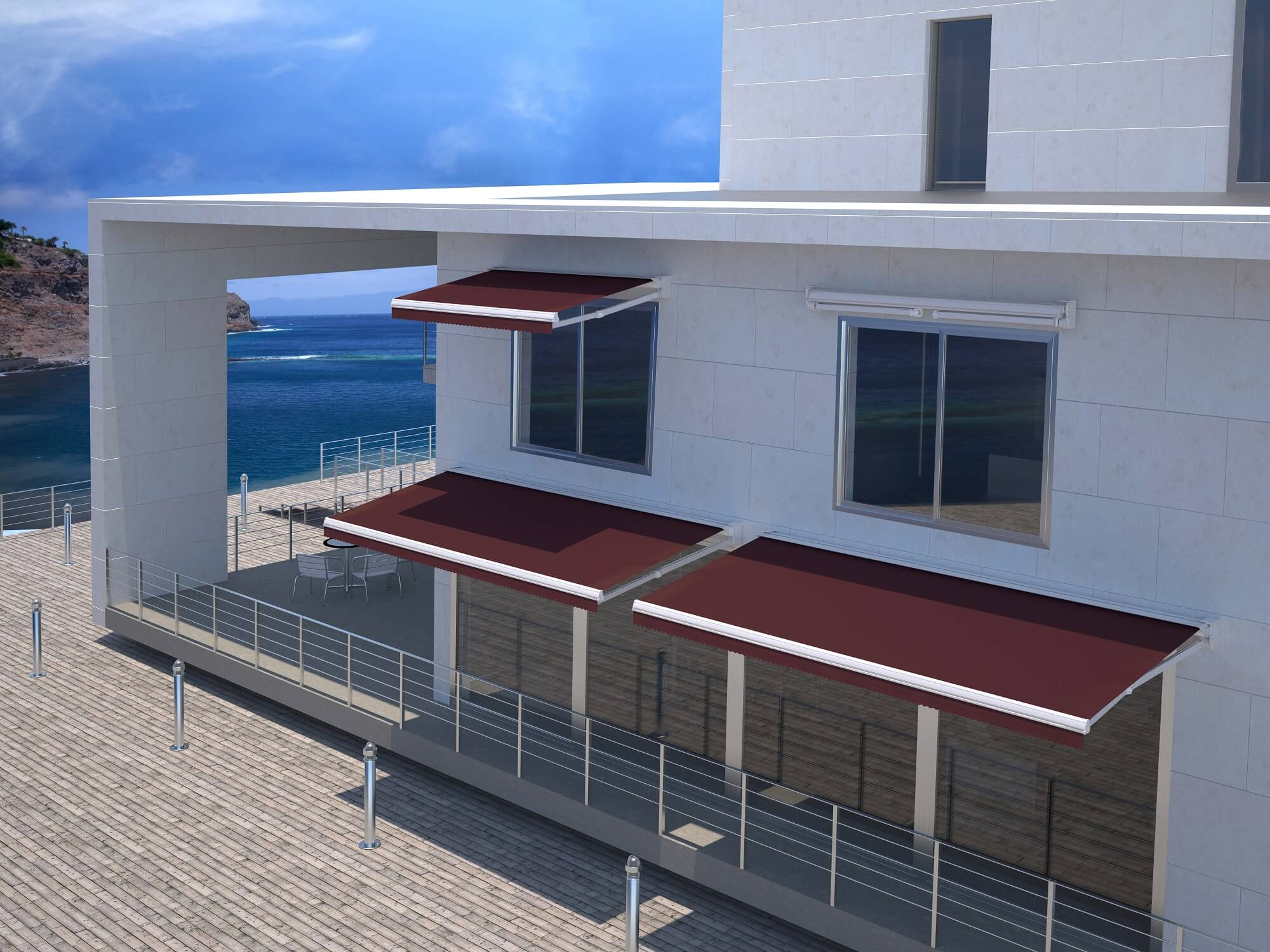 retractable residential house extendable motorized awning