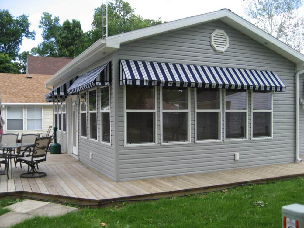 stationary window awnings